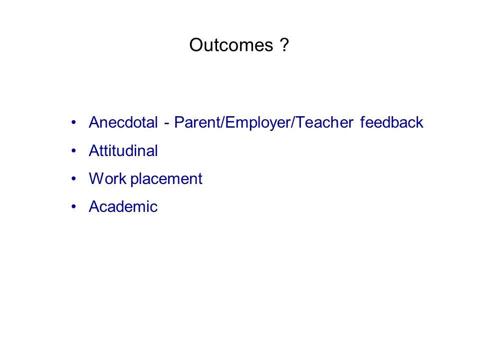 Outcomes Anecdotal - Parent/Employer/Teacher feedback Attitudinal Work placement Academic