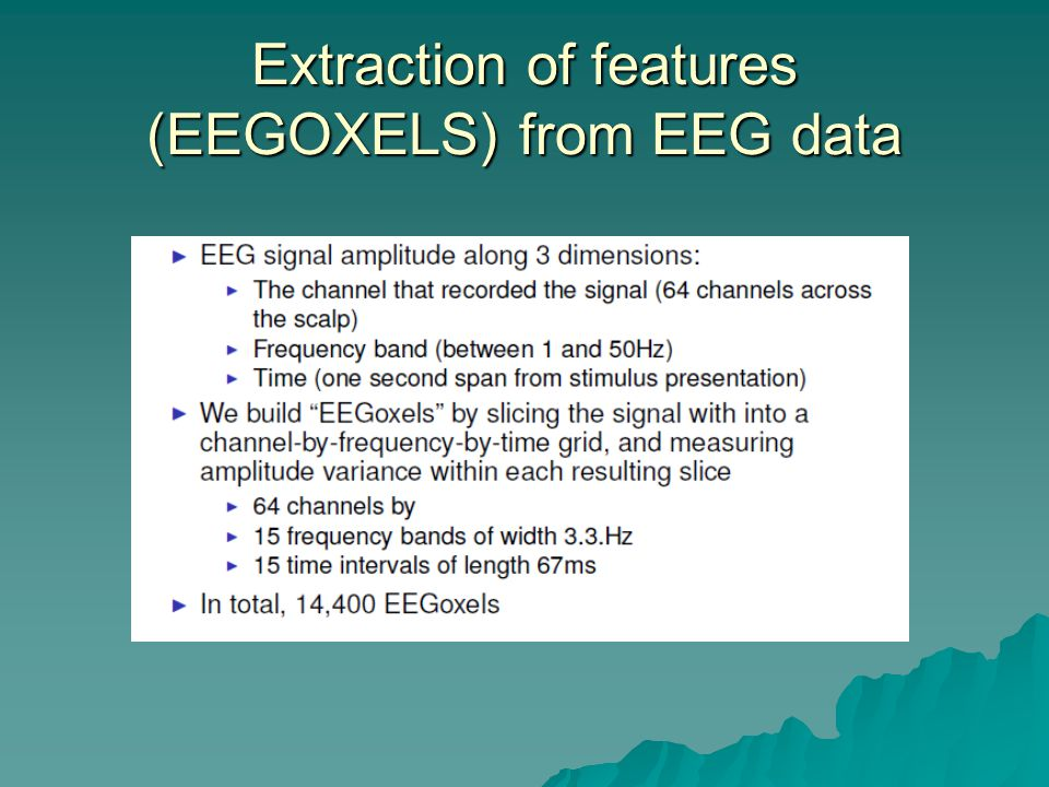 Extraction of features (EEGOXELS) from EEG data
