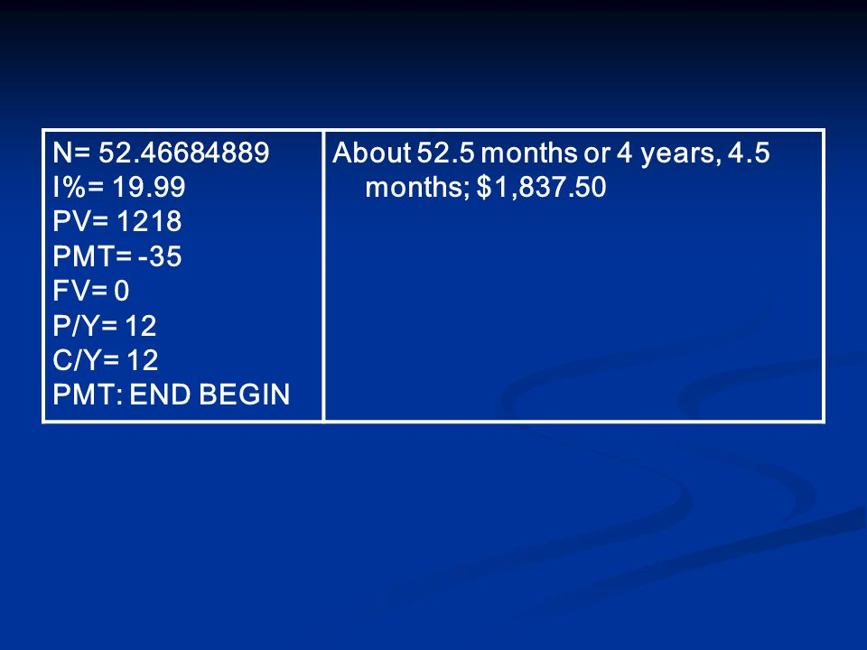 N= I%= PV= 1218 PMT= -35 FV= 0 P/Y= 12 C/Y= 12 PMT: END BEGIN About 52.5 months or 4 years, 4.5 months; $1,837.50