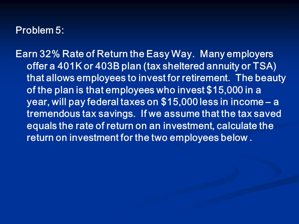 Problem 5: Earn 32% Rate of Return the Easy Way.