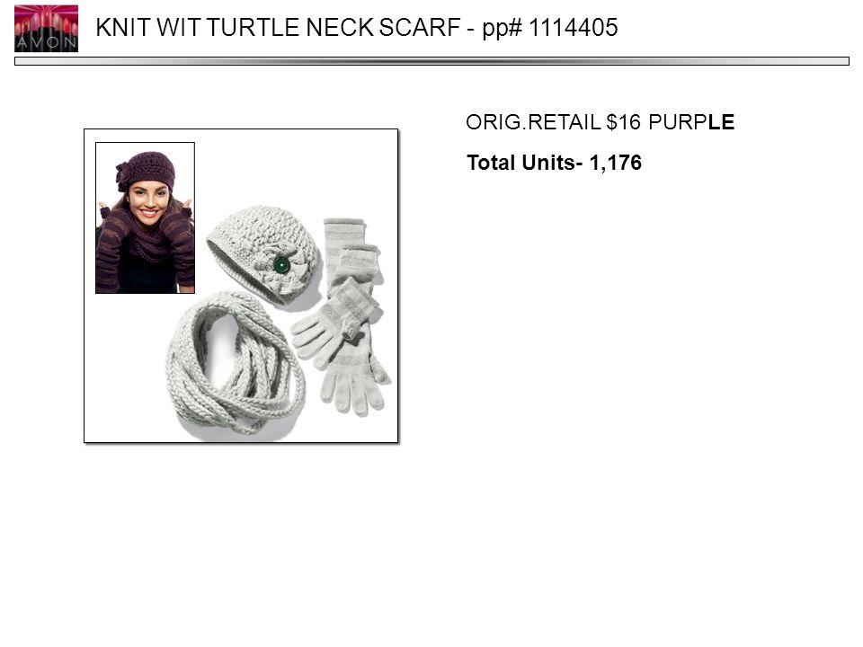 KNIT WIT TURTLE NECK SCARF - pp# 1114405 ORIG.RETAIL $16 PURPLE Total Units- 1,176