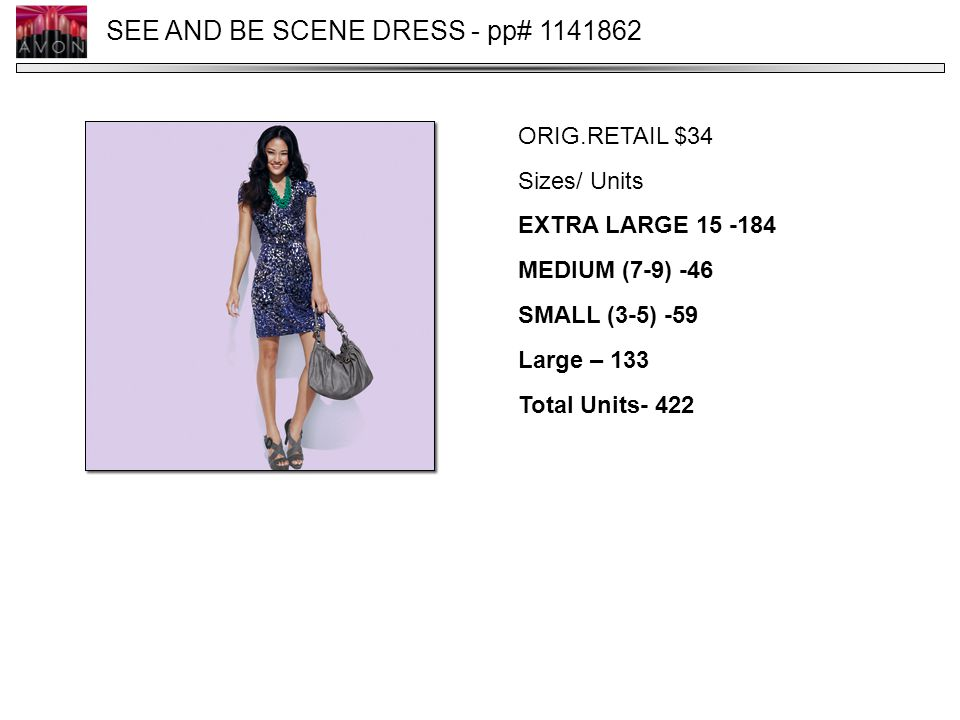 SEE AND BE SCENE DRESS - pp# 1141862 ORIG.RETAIL $34 Sizes/ Units EXTRA LARGE 15 -184 MEDIUM (7-9) -46 SMALL (3-5) -59 Large – 133 Total Units- 422