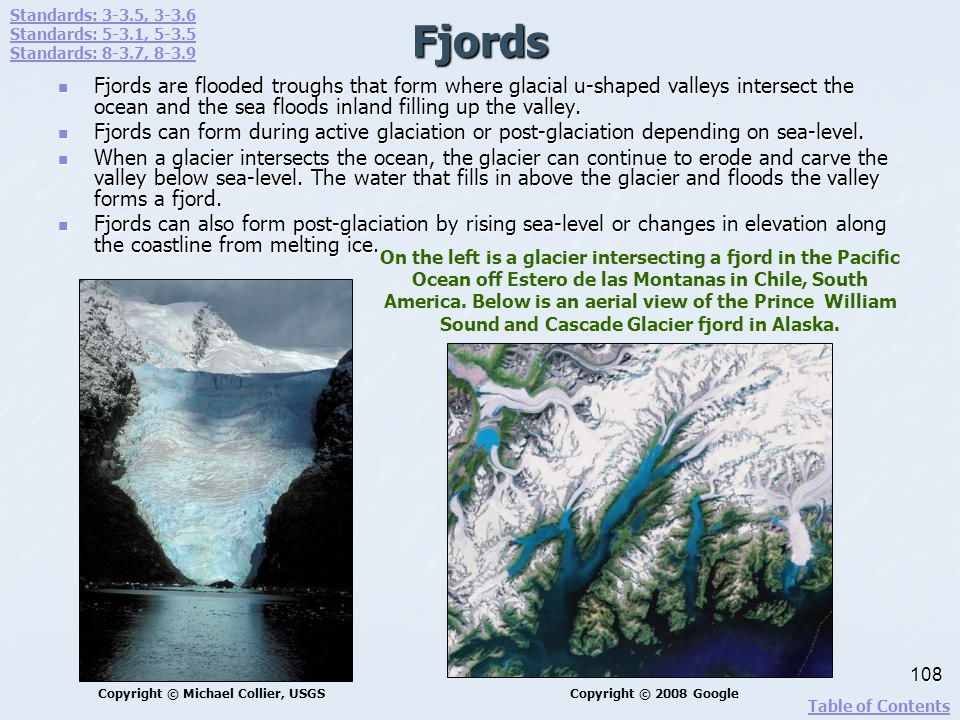 Fjords Fjords are flooded troughs that form where glacial u-shaped valleys intersect the ocean and the sea floods inland filling up the valley. Fjords