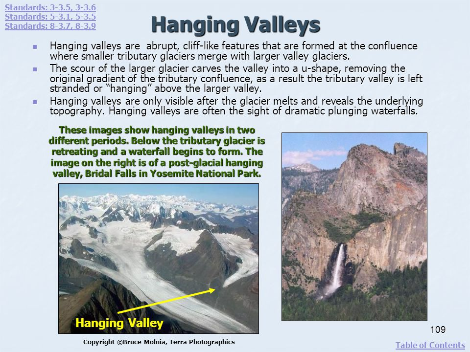 Hanging Valleys Hanging valleys are abrupt, cliff-like features that are formed at the confluence where smaller tributary glaciers merge with larger v