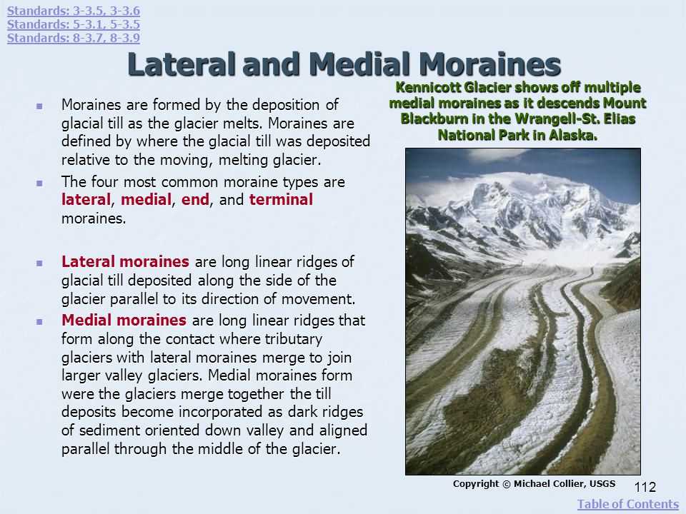 Lateral and Medial Moraines Moraines are formed by the deposition of glacial till as the glacier melts. Moraines are defined by where the glacial till