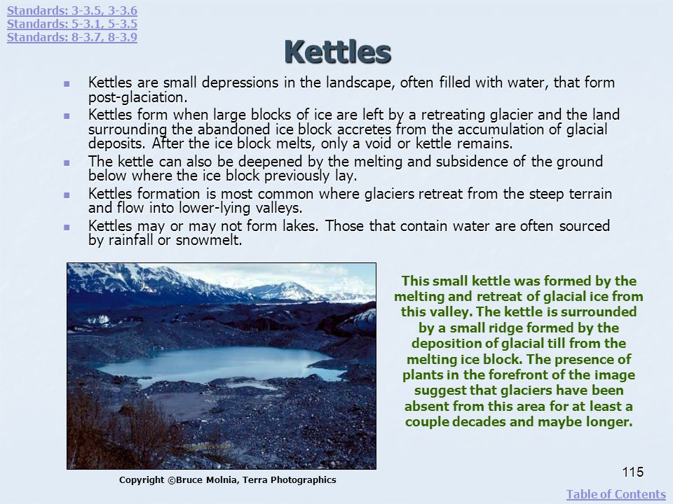 Kettles Kettles are small depressions in the landscape, often filled with water, that form post-glaciation. Kettles are small depressions in the lands