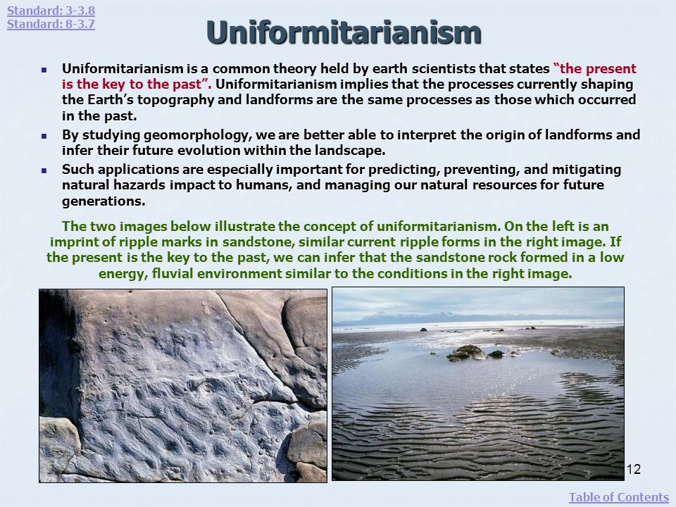Uniformitarianism Uniformitarianism is a common theory held by earth scientists that states Uniformitarianism implies that the processes currently sha