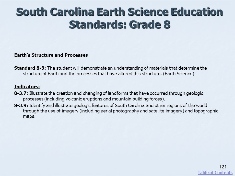 South Carolina Earth Science Education Standards: Grade 8 121 Table of Contents Earths Structure and Processes Standard 8-3: Standard 8-3: The student