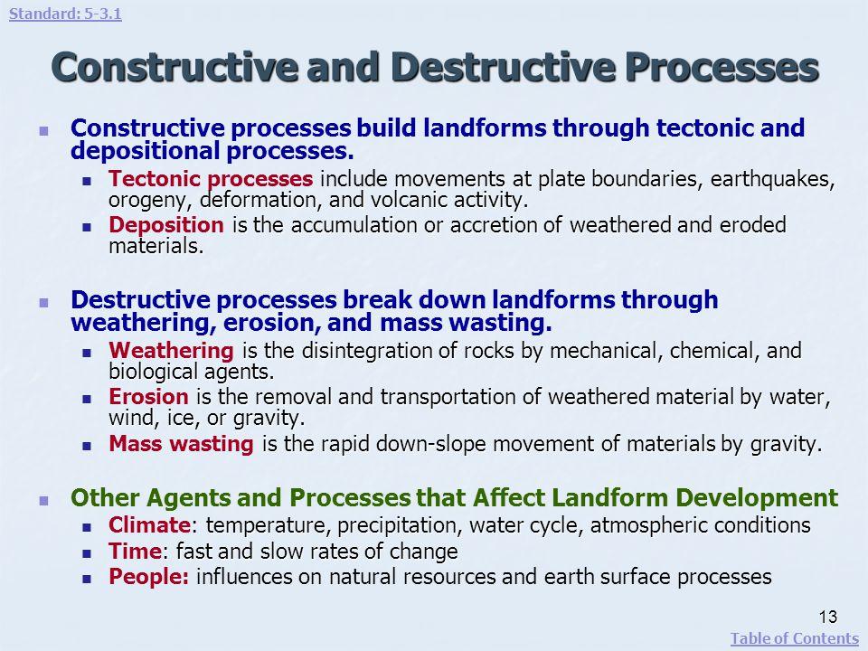 Constructive and Destructive Processes Constructive processes build landforms through tectonic and depositional processes. movements at plate boundari