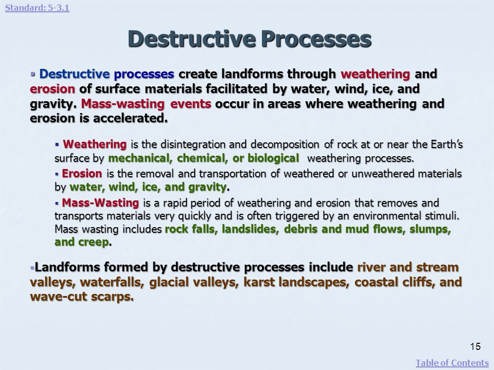 Destructive Processes Destructive processes create landforms through weathering and erosion of surface materials facilitated by water, wind, ice, and
