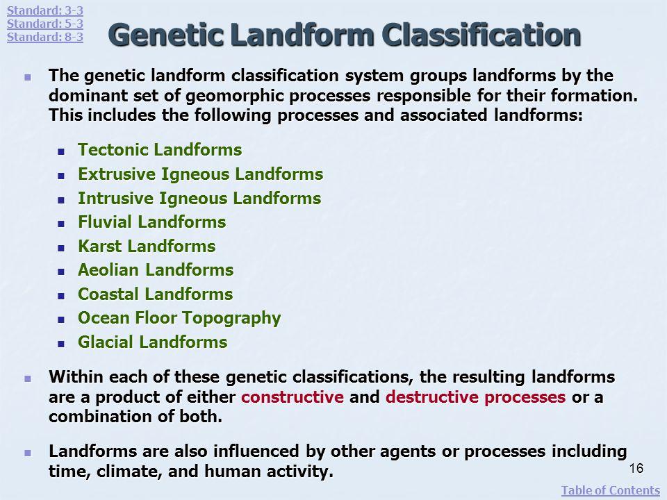 Genetic Landform Classification The genetic landform classification system groups landforms by the dominant set of geomorphic processes responsible fo