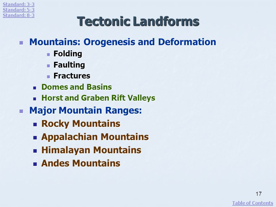 Tectonic Landforms Mountains: Orogenesis and Deformation Mountains: Orogenesis and Deformation Folding Folding Faulting Faulting Fractures Fractures D