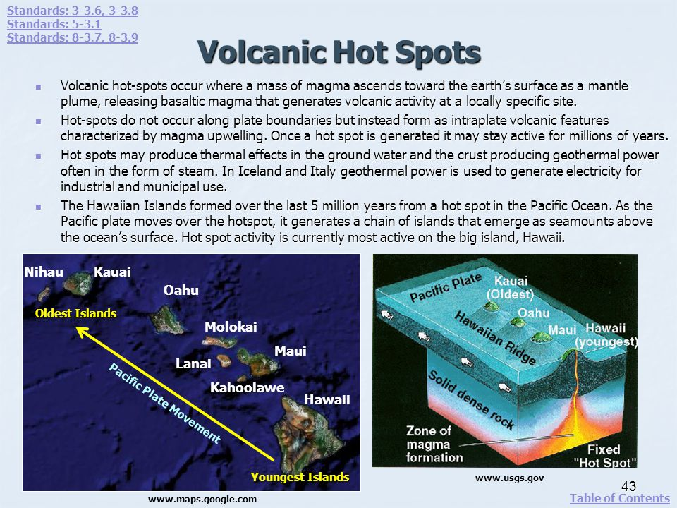Volcanic Hot Spots Volcanic hot-spots occur where a mass of magma ascends toward the earths surface as a mantle plume, releasing basaltic magma that g