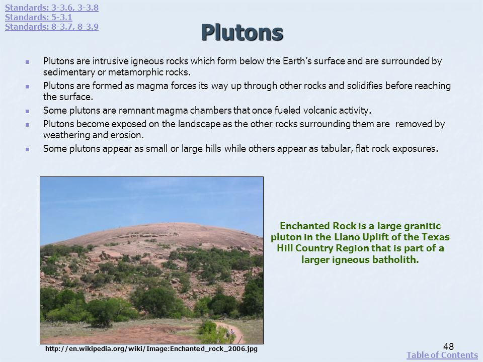 Plutons Plutons are intrusive igneous rocks which form below the Earths surface and are surrounded by sedimentary or metamorphic rocks. Plutons are in