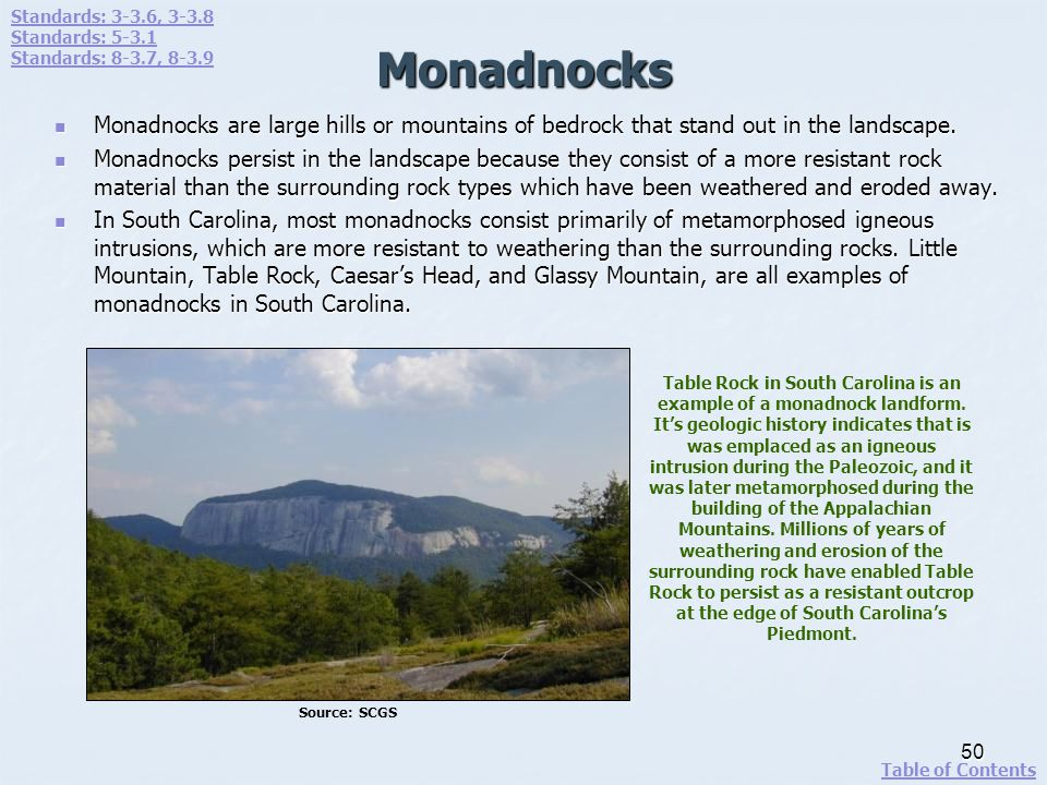 Monadnocks Monadnocks are large hills or mountains of bedrock that stand out in the landscape. Monadnocks are large hills or mountains of bedrock that