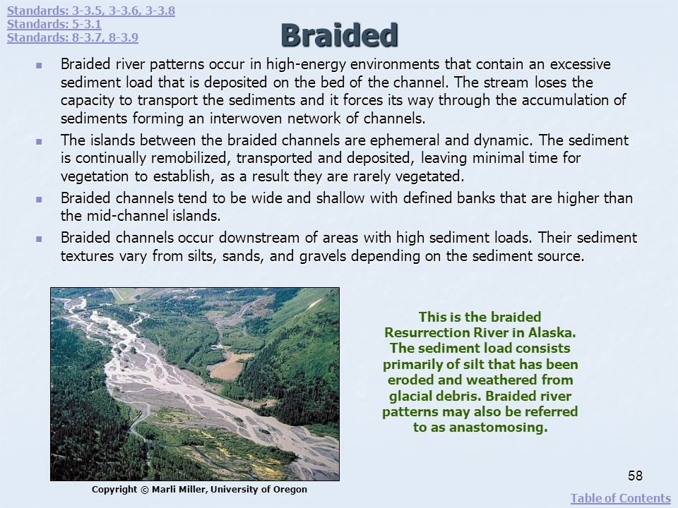 Braided Braided river patterns occur in high-energy environments that contain an excessive sediment load that is deposited on the bed of the channel.