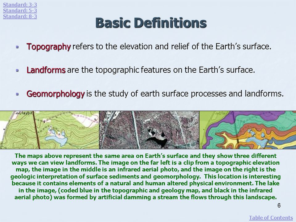 Topography Topography is a term used to describe the Earths surface.