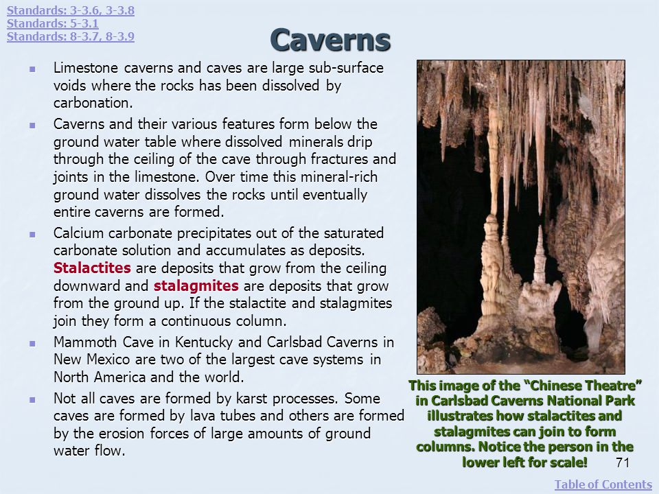 Caverns Limestone caverns and caves are large sub-surface voids where the rocks has been dissolved by carbonation. Limestone caverns and caves are lar