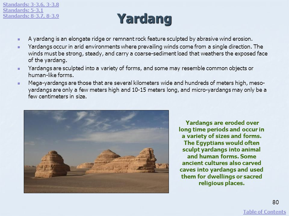 Yardang A yardang is an elongate ridge or remnant rock feature sculpted by abrasive wind erosion. A yardang is an elongate ridge or remnant rock featu