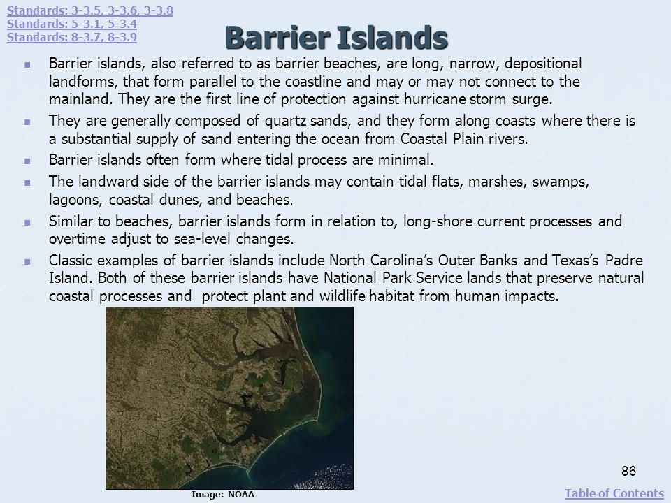 Barrier Islands Barrier islands, also referred to as barrier beaches, are long, narrow, depositional landforms, that form parallel to the coastline an