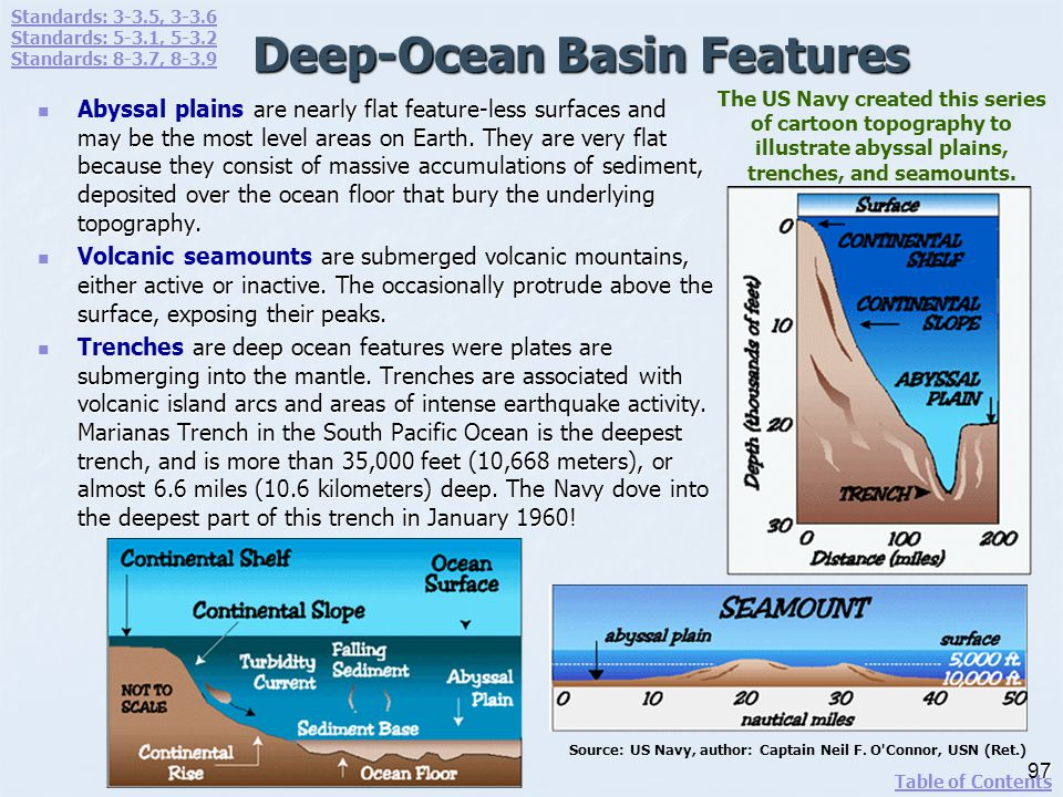 Deep-Ocean Basin Features are nearly flat feature-less surfaces and may be the most level areas on Earth. They are very flat because they consist of m