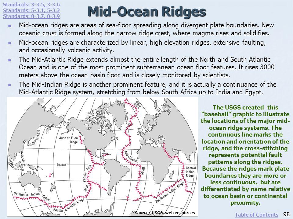 Mid-Ocean Ridges Mid-ocean ridges are areas of sea-floor spreading along divergent plate boundaries. New oceanic crust is formed along the narrow ridg