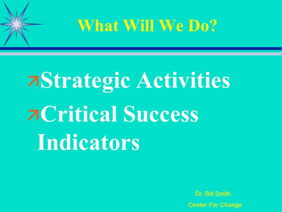 Dr. Bill Smith Center For Change What Will We Do Strategic Activities Critical Success Indicators