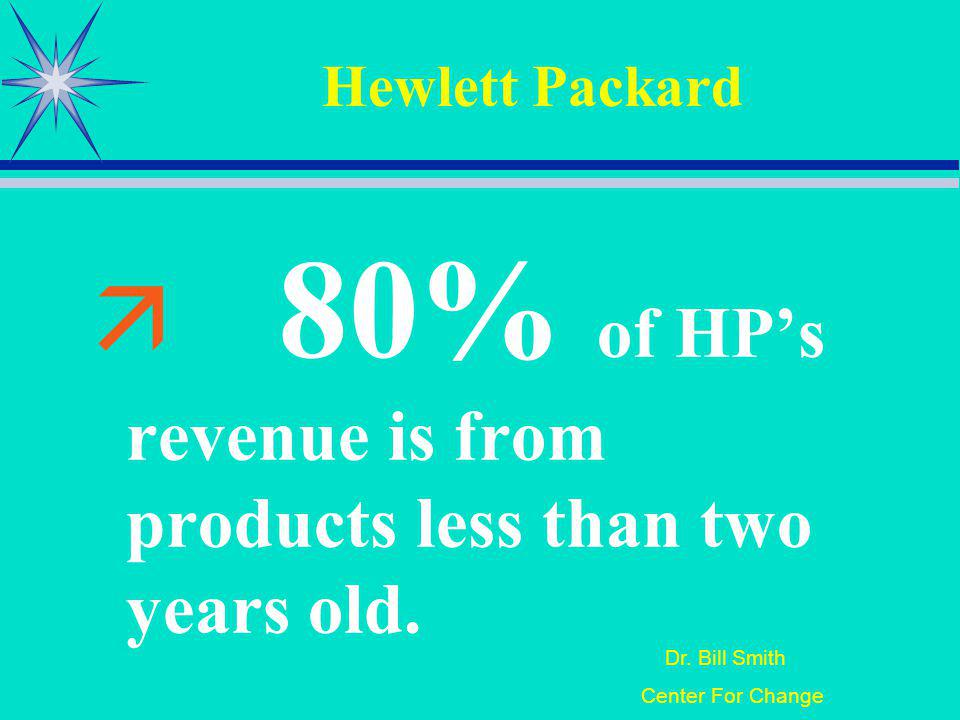 Dr. Bill Smith Center For Change Hewlett Packard 80% of HPs revenue is from products less than two years old.