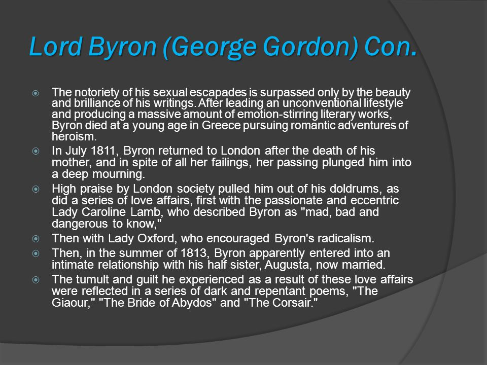 Lord Byron (George Gordon) Con.
