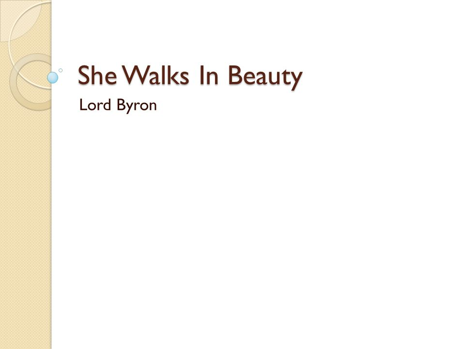 She Walks In Beauty Lord Byron