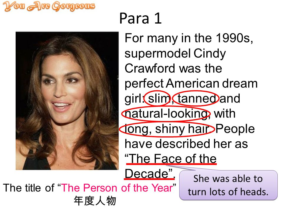 Para 1 For many in the 1990s, supermodel Cindy Crawford was the perfect American dream girl: slim, tanned and natural-looking, with long, shiny hair.