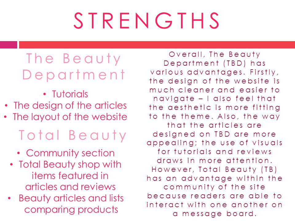 STRENGTHS The Beauty Department Total Beauty Tutorials The design of the articles The layout of the website Community section Total Beauty shop with i
