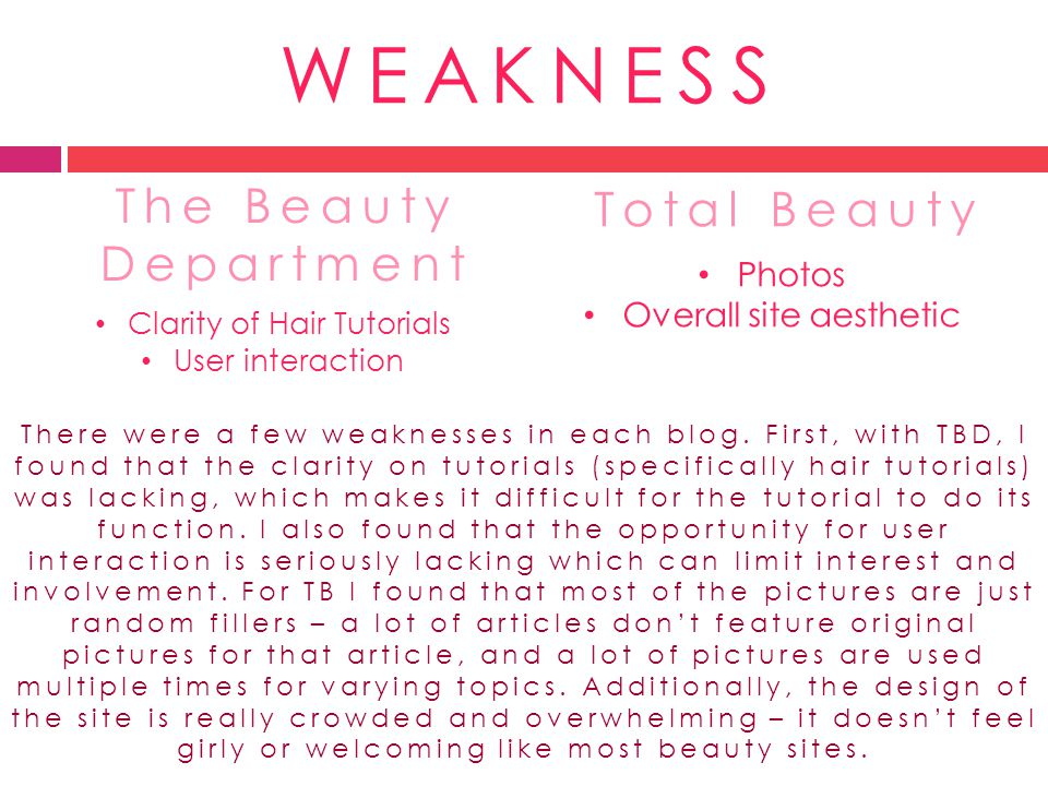 WEAKNESS The Beauty Department Clarity of Hair Tutorials User interaction There were a few weaknesses in each blog. First, with TBD, I found that the