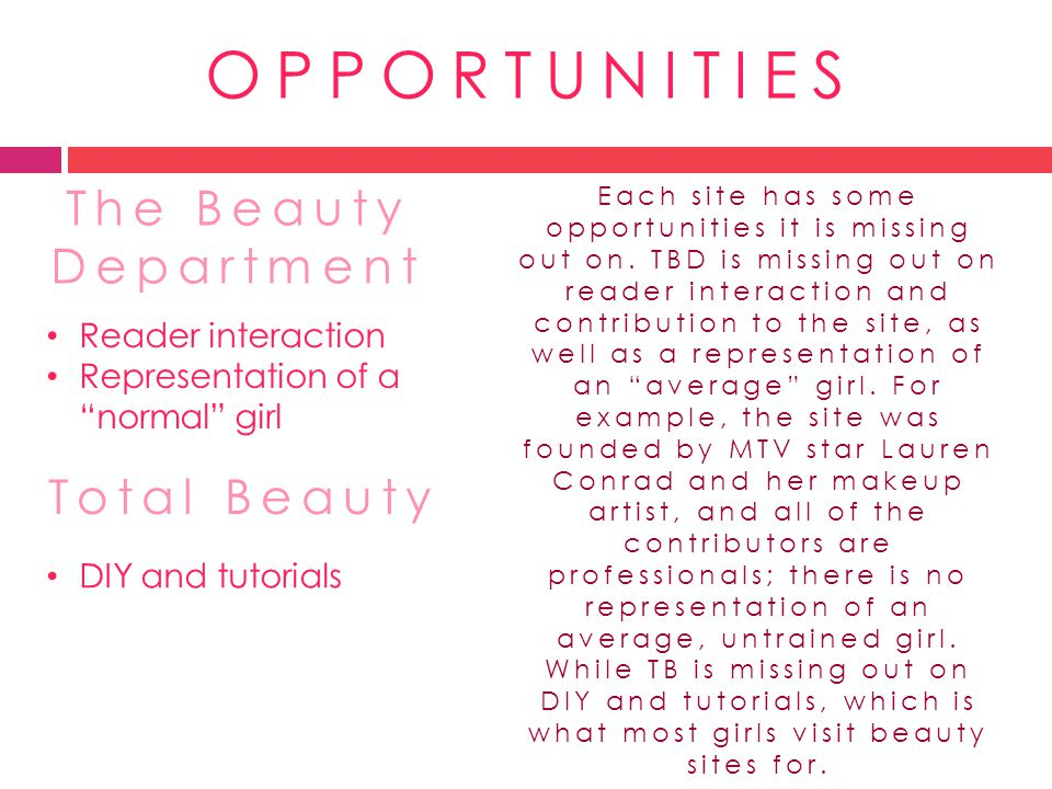 OPPORTUNITIES The Beauty Department Total Beauty Reader interaction Representation of a normal girl DIY and tutorials Each site has some opportunities