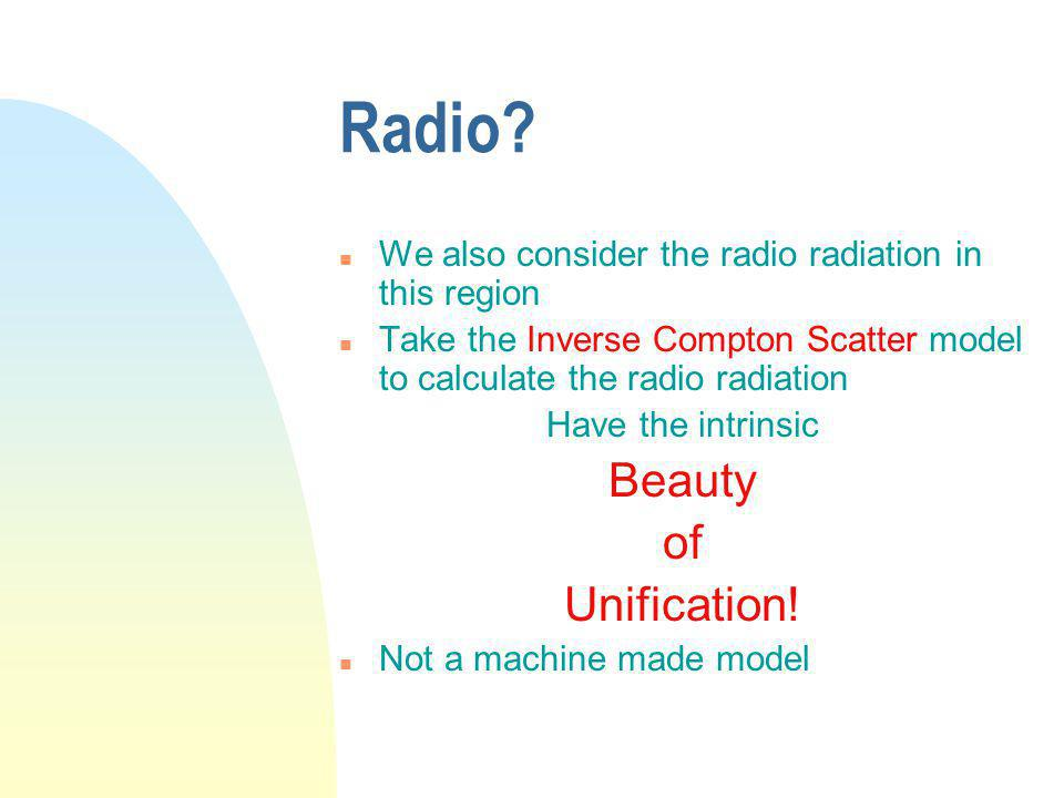 Radio? n We also consider the radio radiation in this region n Take the Inverse Compton Scatter model to calculate the radio radiation Have the intrin