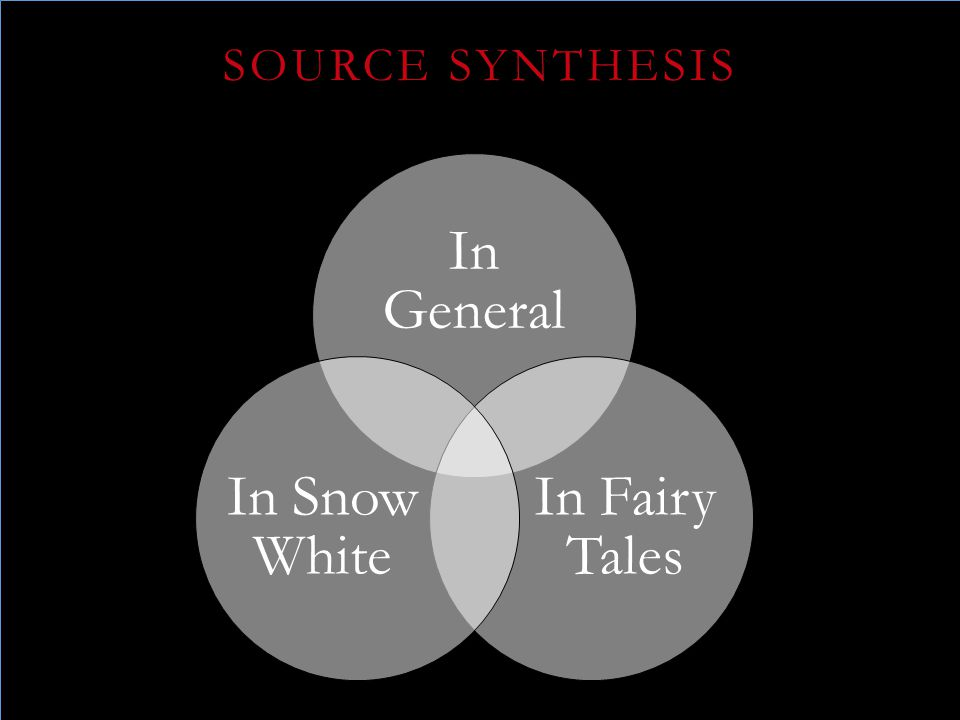 In General In Fairy Tales In Snow White SOURCE SYNTHESIS