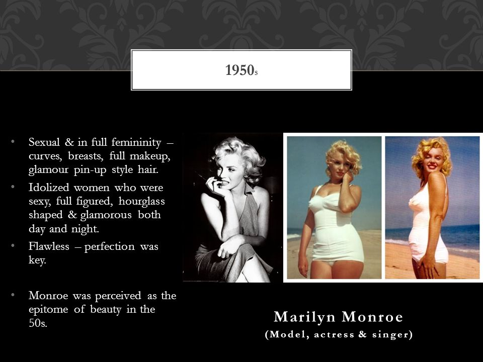 Sexual & in full femininity – curves, breasts, full makeup, glamour pin-up style hair.