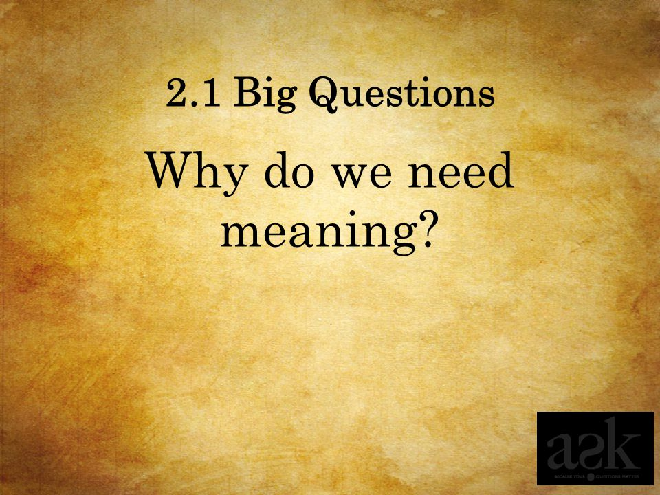 2.1 Big Questions Why do we need meaning?