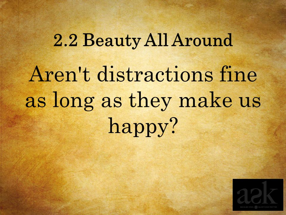 2.2 Beauty All Around Aren't distractions fine as long as they make us happy?