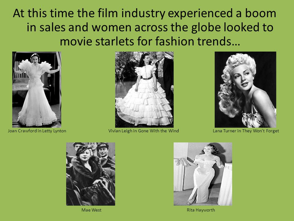 At this time the film industry experienced a boom in sales and women across the globe looked to movie starlets for fashion trends… Joan Crawford in Le