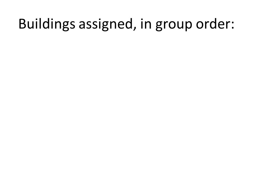 Buildings assigned, in group order: