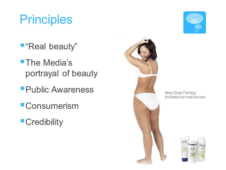 Principles Real beauty The Medias portrayal of beauty Public Awareness Consumerism Credibility