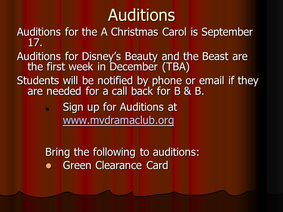 Beauty and the Beast Info Third Night– Music Auditions: Students will be scheduled to come in during the evening for a specified amount of time.
