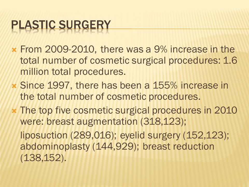 From 2009-2010, there was a 9% increase in the total number of cosmetic surgical procedures: 1.6 million total procedures. Since 1997, there has been