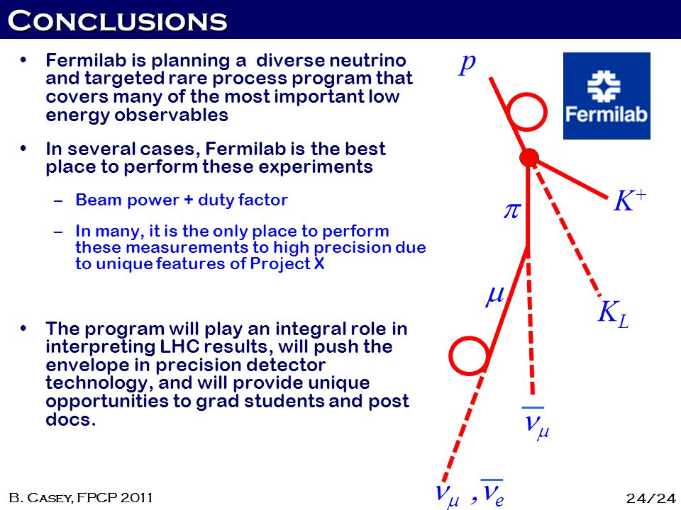 Conclusions 24/24 B. Casey, FPCP 2011 p K+K+ KLKL e Fermilab is planning a diverse neutrino and targeted rare process program that covers many of the