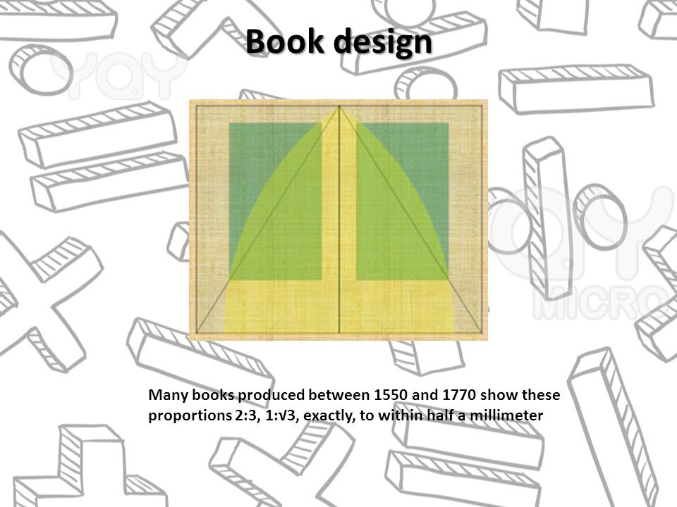 Book design Many books produced between 1550 and 1770 show these proportions 2:3, 1:3, exactly, to within half a millimeter