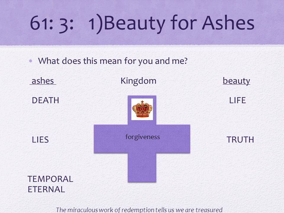 61: 3: 1)Beauty for Ashes What does this mean for you and me.