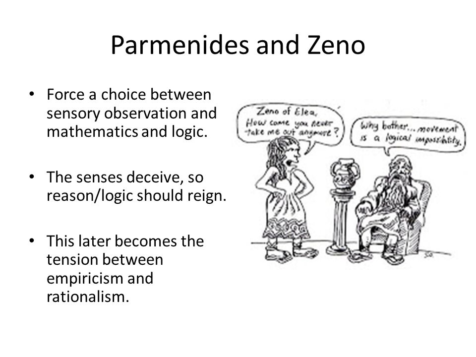 Parmenides and Zeno Force a choice between sensory observation and mathematics and logic. The senses deceive, so reason/logic should reign. This later