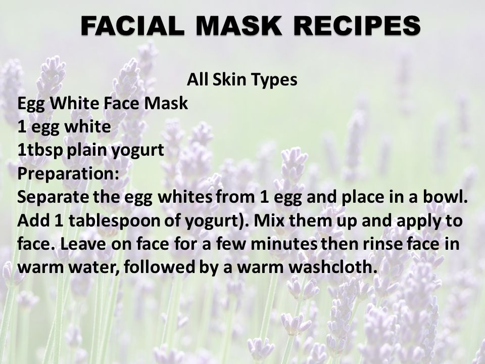 5. FACIAL Every 4-6 weeks Facial mask