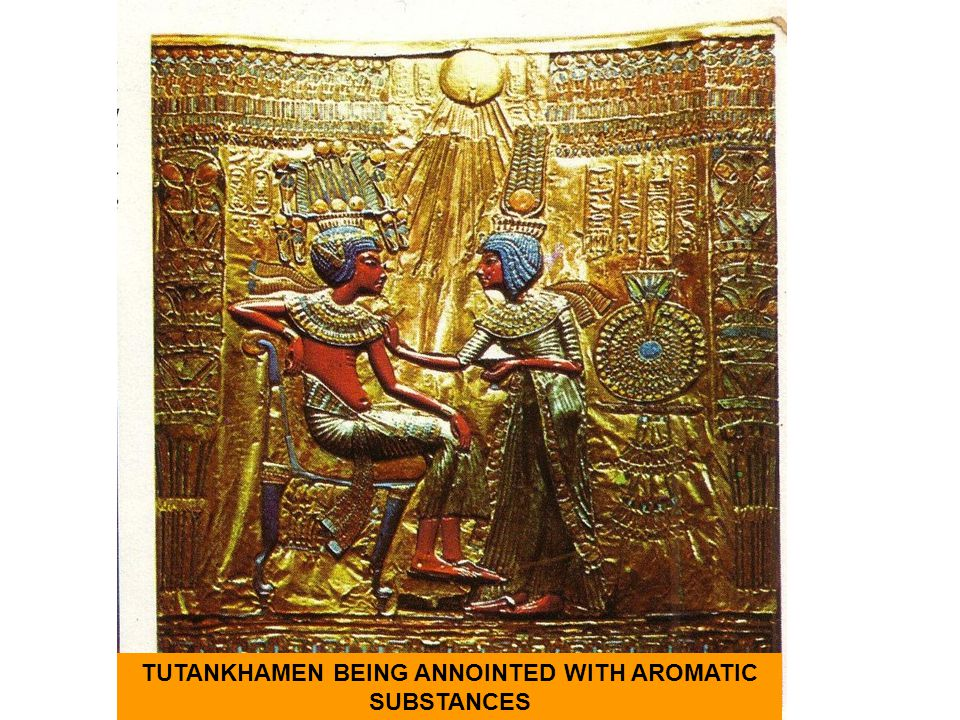 TUTANKHAMEN BEING ANNOINTED WITH AROMATIC SUBSTANCES